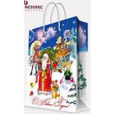 """Подарочный пакет """"Дед Мороз с елкой"""" 17,8*22,9*9,8 см"""