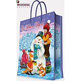 """Подарочный пакет """"Мальчик и снеговик"""" 17,8*22,9*9,8 см"""