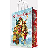 """Подарочный пакет """"Дед Мороз и дети"""" 17,8*22,9*9,8 см"""