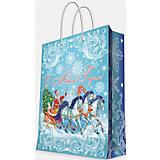 """Подарочный пакет """"Дед Мороз на тройке"""" 40,6*48,9*19 см"""