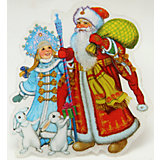 """Украшение """"Дед Мороз, Снегурочка и зайчики"""" со светодиодной подсветкой"""