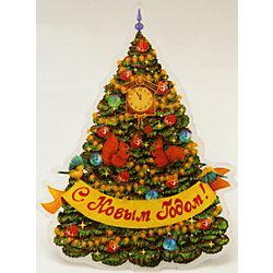 """Украшение """"Новогодняя елка в золотых узорах"""" со светодиодной подсветкой"""