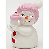 """Керамический снеговик """"Девочка с кексиком"""""""