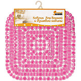 Коврик для ванной BM-55-P «Алмазы» квадратный, 50*50 см, Рыжий Кот, розовый