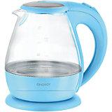 Чайник E-266 (1,5 л, диск) стеклянный, Energy, голубой