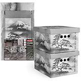 Короб картонный, складной, малый, 25*33*18.5 см, 2 шт., JAPANESE BLACK, Valiant