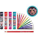 Цветные карандаши в тубе, 12 цветов (дизайн тубы в ассортименте)
