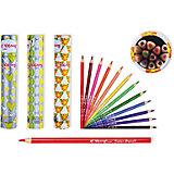 Цветные карандаши в тубе, 12 цветов (дизайн в ассортименте)