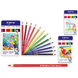 Трехгранные цветные карандаши, 12 цветов в металлическом кейсе