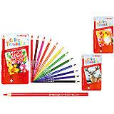 Набор цветных карандашей, 12 цветов, с кисточкой