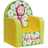 Мягкое кресло с чехлом 53*41*32 Маша и Медведь, СмолТойс, желтый