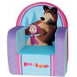 Мягкое кресло с чехлом Маша и Медведь с музыкальным элементом, СмолТойс, голубой