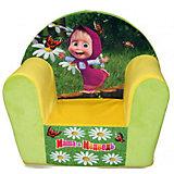 Мягкое кресло с чехлом Маша и Медведь в50, СмолТойс, желтый