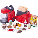 Набор детской посуды и продуктов: ти-пот и тостер, с аксессуарами, JUNFA