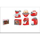 Набор бытовой техники: кофеварка, яйцеварка, мультиварка, микроволновая печь, блендер,ти-пот, 38x9.5x28см, JUNFA