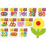 """Фетровые аппликации """"Цветы"""" 12*10 см (12 дизайнов в ассортименте)"""