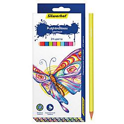 Набор карандашей, 24 цвета БАБОЧКИ, шестигранные