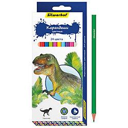 Набор карандашей, 24 цвета ДИНОЗАВРЫ, шестигранные