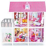 2-этажный кукольный дом (4 комнаты, мебель, 3 куклы, велосипед), PAREMO