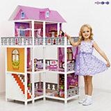 3-этажный кукольный дом (угловой, 6 комнат, мебель, 3 куклы, велосипед), PAREMO