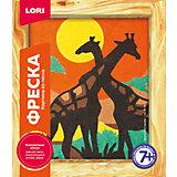 Фреска, Картина из песка Африканские жирафы