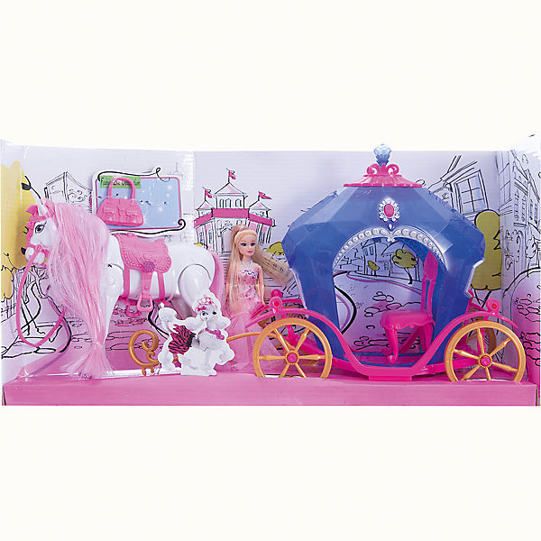 Карета с куклой и лошадью, со светом и звуком, Shantou Gepai