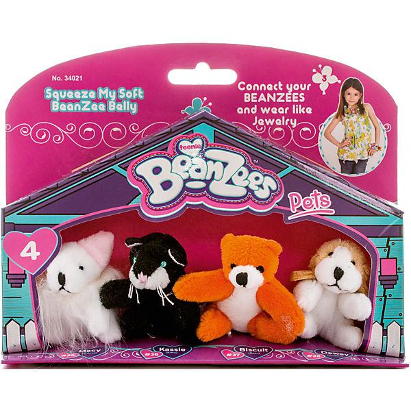 "Мини-плюш в наборе ""Мышка, Котик, Медведь, Песик"", Beanzeez"