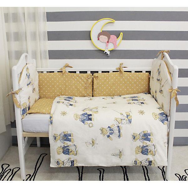 Комплект в кроватку 6 предметов By Twinz, Мишки-морячки, коричневые бортики