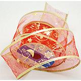 Декоративная лента красная, новогодняя ночь(0,08Х0,08Х0,06 м)