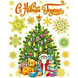 """Новогодняя наклейка из ПВХ, 30х38см, """"Елка с подарками"""""""