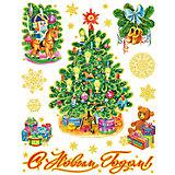 """Новогодняя наклейка из ПВХ, 30х38см, """"Новогодние игрушки"""""""