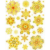 """Новогодняя наклейка из ПВХ, 30х38см, """"Золотые снежинки"""""""