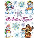 "Новогодняя наклейка из ПВХ, 30х38см, ""Снеговики"""