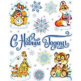 """Новогодняя наклейка из ПВХ, 30х38см, """"Новый год в лесу"""""""