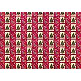 """Новогодняя упаковочная бумага в рулонах """"Елка с подарками"""" красная, полноцветная 100x70см"""