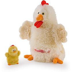 Мягкая игрушка на руку Курочка с цыпленком, 28 см, Trudi