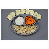 Тарелка трехсекционная с подставкой Happy Mat, 540 мл., ezpz, серый