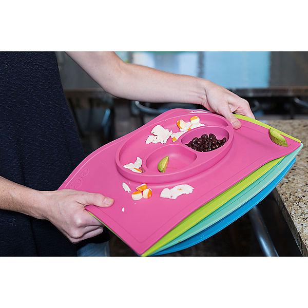 Тарелка трехсекционная с подставкой Happy Mat, 540 мл., ezpz, розовый