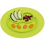 Тарелка с подставкой Mini Mat, ezpz, зеленый