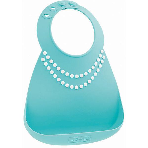 Нагрудник Make my day, голубой/жемчужины (Pearls)