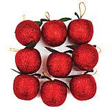 """Набор подвесок """"Яблоко"""" 3,5 см, 9 шт, красные"""