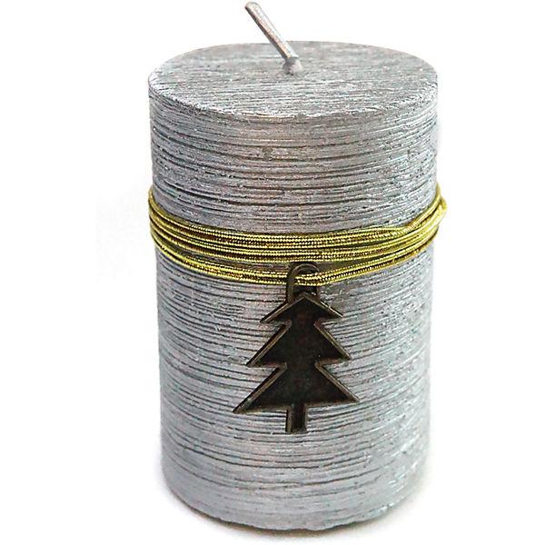 Свеча Новогодняя 7,5х5 см, серебро