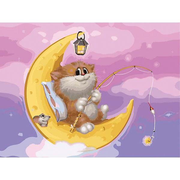 "Живопись на холсте 30*40 см ""Котик на Луне"""