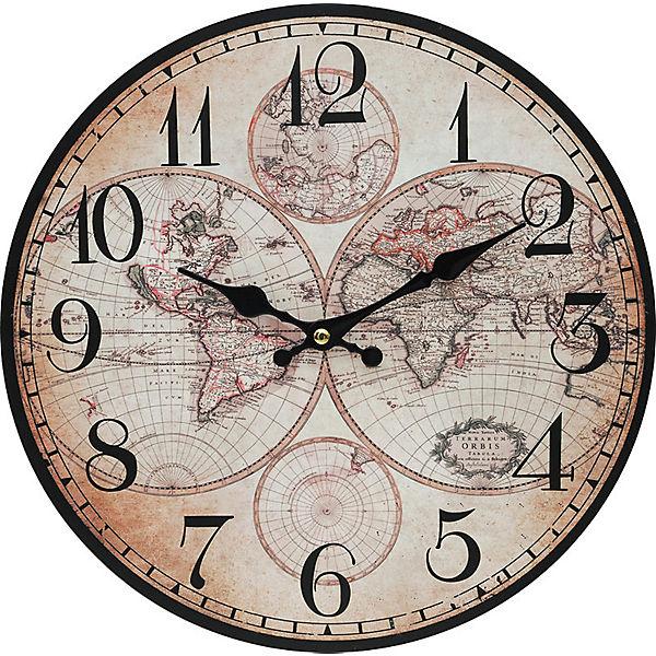 """Часы настенные """"Карта мира"""", диаметр 34 см"""