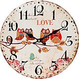 """Часы настенные """"Совы на ветке"""", диаметр 34 см"""
