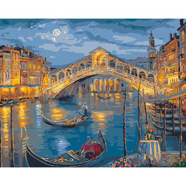 """Холст с красками по номерам """"Венеция, мост Риальто"""" 40х50 см"""