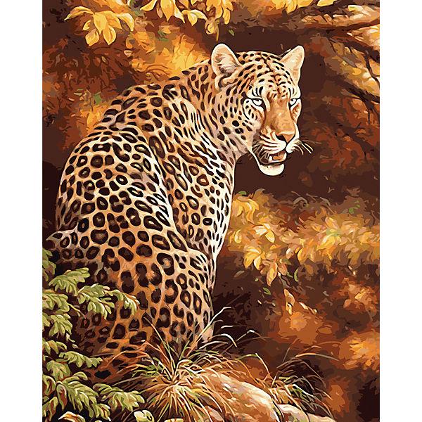 "Холст с красками по номерам ""Грозный леопард"" 40х50 см"