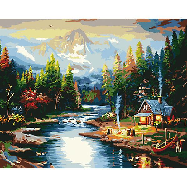 "Холст с красками по номерам ""Дом на берегу реки"" 40х50 см"