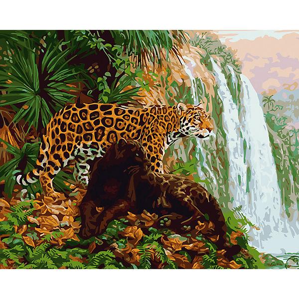 "Холст с красками по номерам ""Леопард у водопада"" 40х50 см"