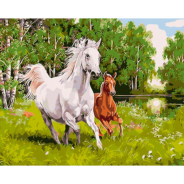 "Холст с красками по номерам ""Лошадь и жеребенок"" 40х50 см"